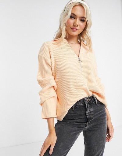 Arancione donna Maglione oversize arancione chiaro con colletto aperto e zip sul davanti - ASOS DESIGN