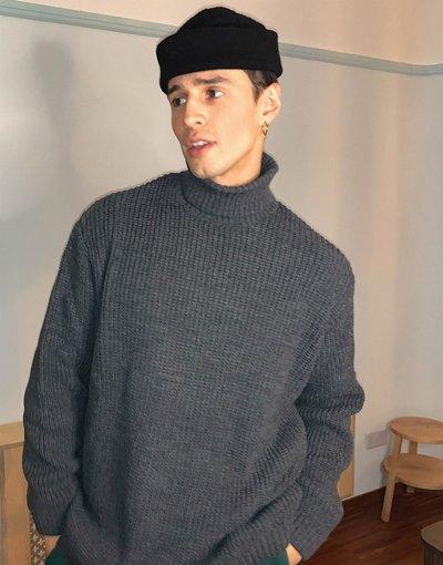 Grigio uomo Maglione oversize con collo alto in maglia a coste antracite - ASOS DESIGN: - Grigio