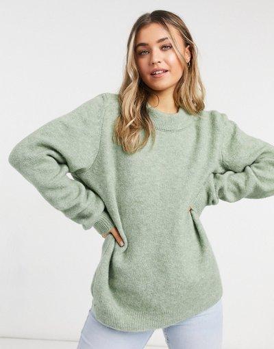 Verde donna Maglione oversize girocollo kaki - ASOS DESIGN - Verde