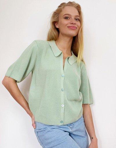 Verde donna Maglione verde chiaro con colletto e bottoni - ASOS DESIGN