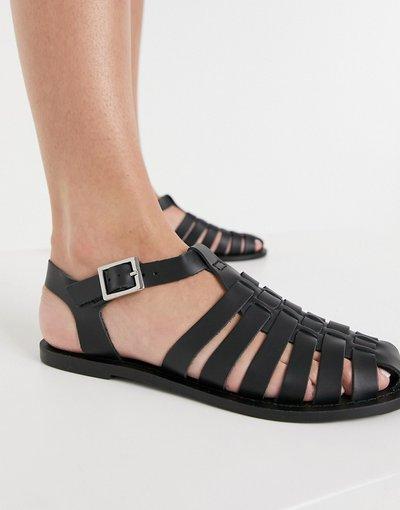 Scarpa bassa Nero donna Scarpe basse da pescatore in pelle nera - ASOS DESIGN - Marina - Nero