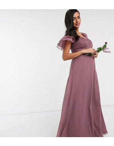 Maternita Viola donna Vestito lungo malva polvere con maniche corte e arricicatura - ASOS DESIGN Maternity - Bridesmaid - Viola