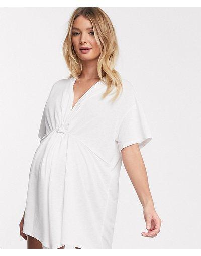 Maternita Bianco donna Copricostume in jersey testurizzato con dettaglio attorcigliato davanti bianco - ASOS DESIGN Maternity