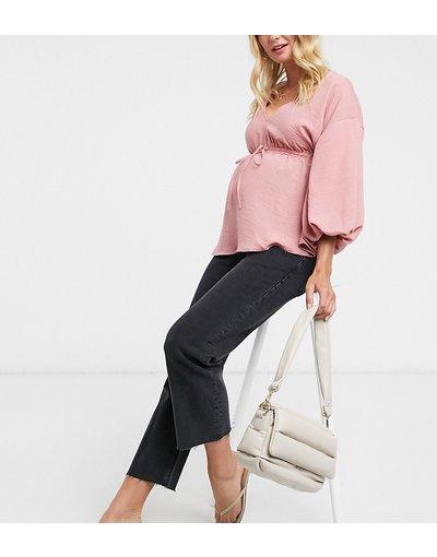 Maternita Nero donna Jeans a zampa vita alta corti stretch semplici nero slavato con fascia sopra il pancione - ASOS DESIGN Maternity
