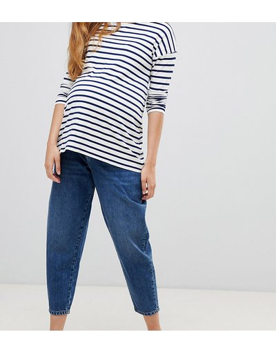 Maternita Blu donna Jeans boyfriend a palloncino lavaggio blu scuro con fascia per il pancione - ASOS DESIGN Maternity