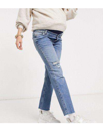 Maternita Blu donna Jeans a zampa corti elasticizzati e vita altaeffortlesslavaggio medio con strappi sulla coscia e fascia per il pancione - ASOS DESIGN Maternity - Blu