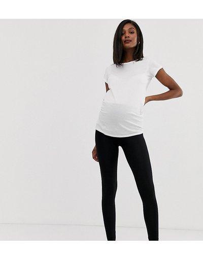 Maternita Nero donna Leggings vita alta con fascia sopra il pancione neri - ASOS DESIGN Maternity - Nero