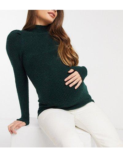 Marrone donna Maglione a coste verde scuro con spalle a sbuffo - ASOS DESIGN Maternity - Marrone