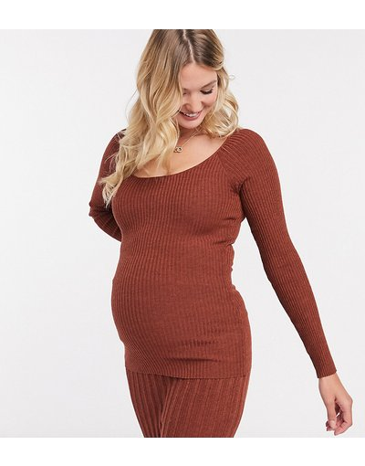 Rosso donna Maglione a maniche lunghe color ruggine con scollo rotondo - ASOS DESIGN Maternity - Rosso