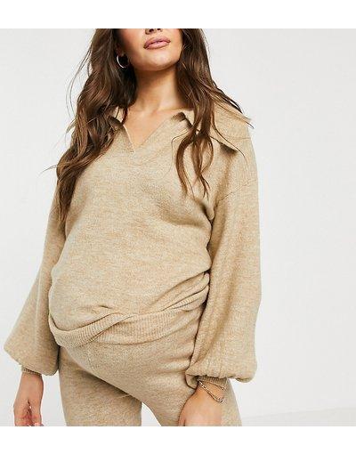 Beige donna Maglione con colletto aperto color avena in coordinato - ASOS DESIGN Maternity - Beige