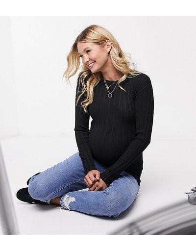 Nero donna Maglione girocollo a coste - ASOS DESIGN Maternity - Nero