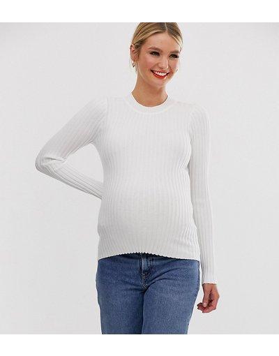 Bianco donna Maglione girocollo a coste strette - ASOS DESIGN Maternity - Bianco
