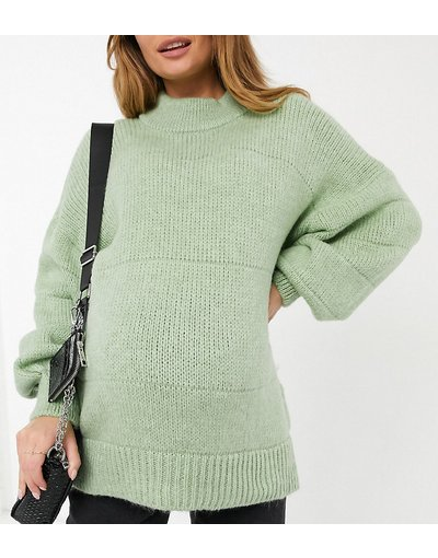 Verde donna Maglione oversize a righe effetto cuciture verde - ASOS DESIGN Maternity