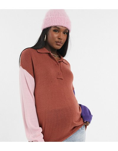 Multicolore donna Maglione oversize stile rugby con colletto color block - ASOS DESIGN Maternity - Multicolore