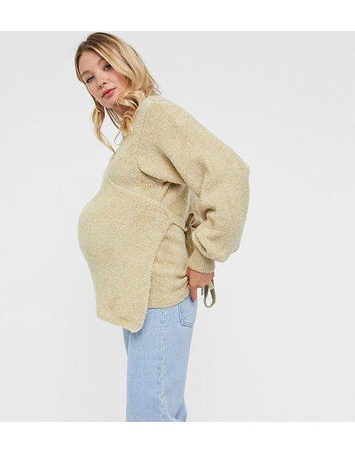 Beige donna Maglione soffice a portafoglio cereale - ASOS DESIGN Maternity - Beige
