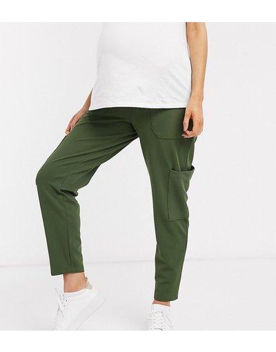 Maternita Verde donna Pantaloni multitasche con pinces in twill e jersey - ASOS DESIGN Maternity - Verde