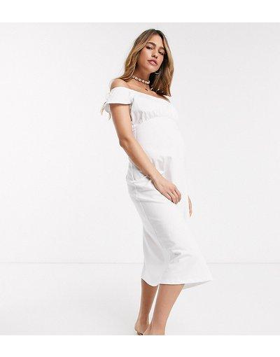 Maternita Bianco donna Prendisole bianco con spalle scoperte e fondo a peplo - ASOS DESIGN Maternity