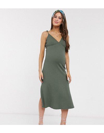 Maternita Verde donna Prendisole midi a coste kaki con spalline sottili - ASOS DESIGN Maternity - Verde