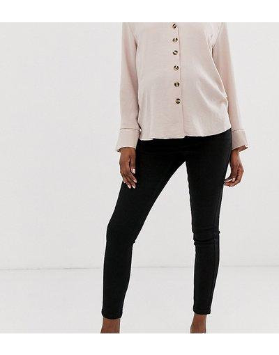 Maternita Nero donna Jeans skinny a vita medio alta nero pulito con fascia sul pancione - ASOS DESIGN Maternity - Ridley