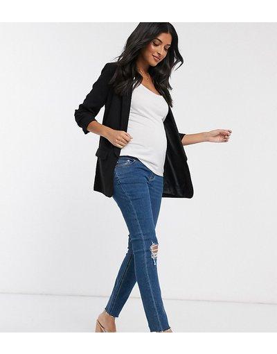 Maternita Blu donna Jeans vita alta skinny blu acceso con strappi fondo grezzo e fascia sotto il pancione - ASOS DESIGN Maternity - Ridley