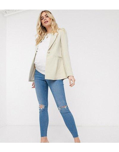 Maternita Bianco donna Jeans vita alta skinny lavaggio blu chiaro con strappi sul ginocchio fondo grezzo e fascia sotto il pancione - ASOS DESIGN Maternity - Ridley - Bianco