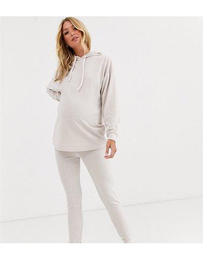 Maternita Beige donna Set leggings e felpa con cappuccio da casa in velour a coste con giromanica ampio - ASOS DESIGN Maternity - Beige
