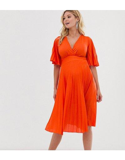 Arancione donna Vestitino a pieghe stile kimono - ASOS DESIGN Maternity - Arancione