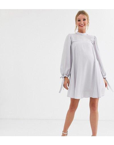 Grigio donna Vestitino svasato e accollato con maniche con laccetti - ASOS DESIGN Maternity - Grigio