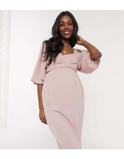 Maternita Rosa donna Vestito a portafoglio midi con maniche a sbuffo rosa - ASOS DESIGN Maternity