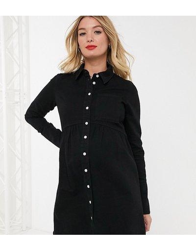 Maternita Nero donna Vestito camicia di jeans nero - ASOS DESIGN Maternity