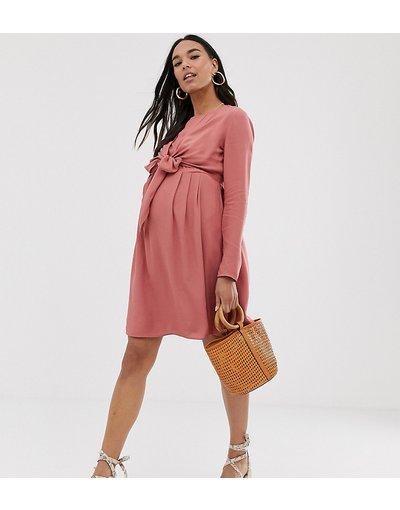 Maternita Rosa donna Vestito corto a portafoglio rosa per allattamento con maniche lunghe - ASOS DESIGN Maternity