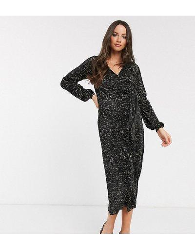 Maternita Nero donna Vestito da giorno a portafoglio plissè midi glitterato nero - ASOS DESIGN Maternity