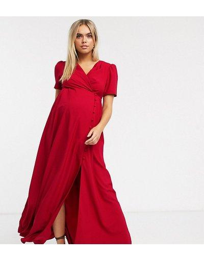 Rosso donna Vestito da giorno lungo rosso con bottoni - ASOS DESIGN Maternity