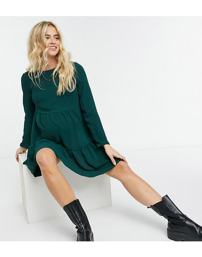 Maternita Verde donna Vestito grembiule corto a balze con maniche lunghe verde - ASOS DESIGN Maternity