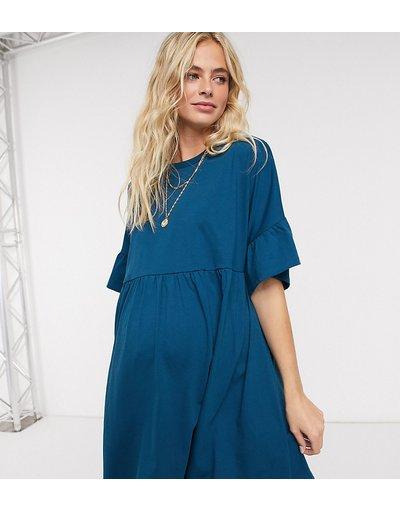 Maternita Blu donna Vestito grembiule oversize con maniche a volant blu navy - ASOS DESIGN Maternity