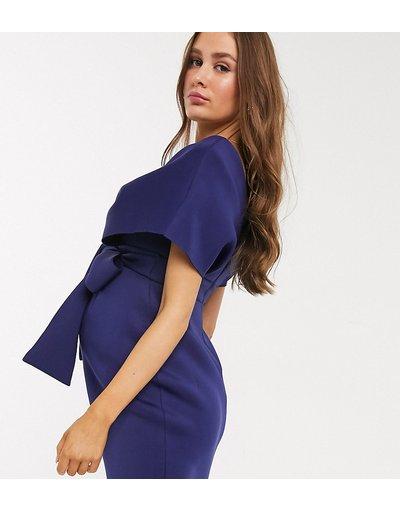 Blu navy donna Vestito longuette blu navy con spalle scivolate allacciato sul retro - ASOS DESIGN Maternity
