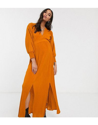 Maternita Multicolore donna Vestito lungo a maniche lunghe con vita arricicata arancione a coste - ASOS DESIGN Maternity - Multicolore
