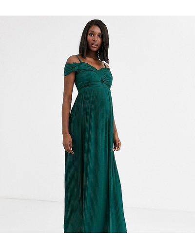 Verde donna Vestito lungo a pieghe con scollo alla Bardot con inserti in pizzo colore verde bosco - ASOS DESIGN Maternity
