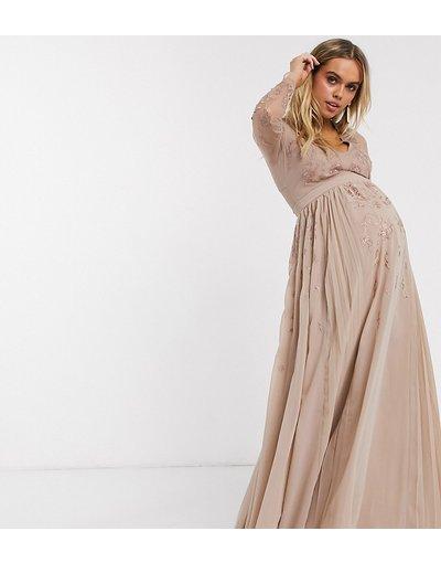 Oro donna Vestito lungo a pieghe ricamato con dettagli a rete - ASOS DESIGN Maternity - Oro