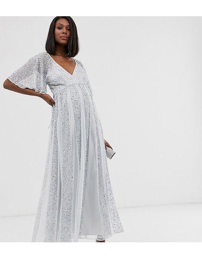 Argento donna Vestito lungo a rete con maniche a volant e pannelli a godet con paillettes ricamate - ASOS DESIGN Maternity - Argento