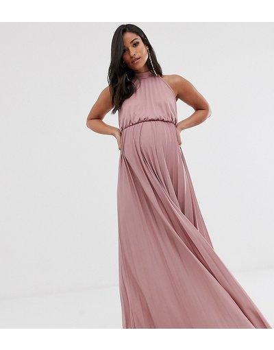 Rosa donna Vestito lungo allacciato al collo con pieghe e vita raccolta rosa - ASOS DESIGN Maternity