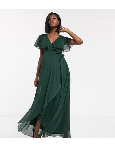 Verde donna Vestito lungo con retro a mantella e taglio asimmetrico - ASOS DESIGN Maternity - Verde