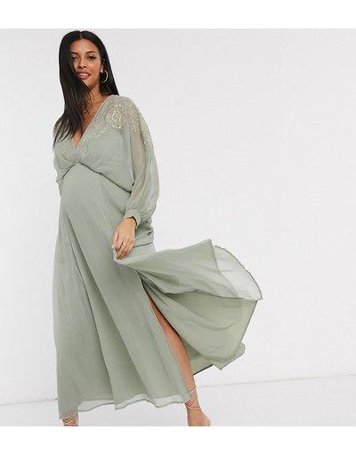 Multicolore donna Vestito lungo in chiffon stropicciato con carré ricamato - ASOS DESIGN Maternity - Multicolore