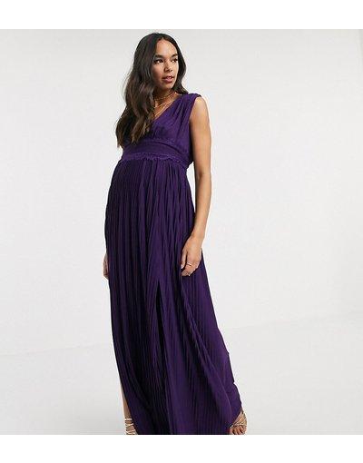 Viola donna Vestito lungo premium a pieghe con inserti in pizzo - ASOS DESIGN Maternity - Viola