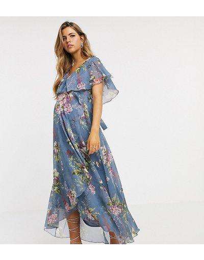 Maternita Blu donna Vestito midi a fiori con spacco sulle maniche, retro a mantella, taglio asimmetrico e spalle allacciate - ASOS DESIGN Maternity - Blu