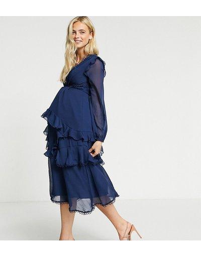 Navy donna Vestito midi a maniche lunghe e bordo circolare - ASOS DESIGN Maternity - Navy