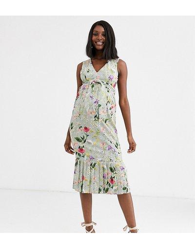 Eleganti longuette Multicolore donna Vestito midi a pieghe a fiori con cintura - ASOS DESIGN Maternity - Multicolore
