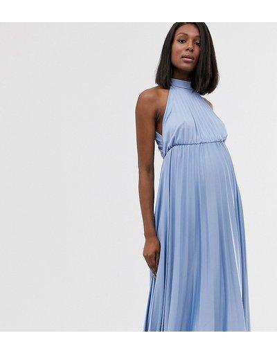 Blu donna Vestito midi a pieghe allacciato al collo e stretto in vita - ASOS DESIGN Maternity - Blu