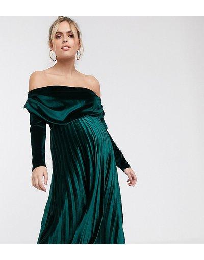 Verde donna Vestito midi a pieghe con scollo alla Bardot e maniche lunghe in velluto - ASOS DESIGN Maternity - Verde
