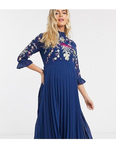 Navy donna Vestito midi a pieghe ricamato con maniche svasate blu navy - ASOS DESIGN Maternity